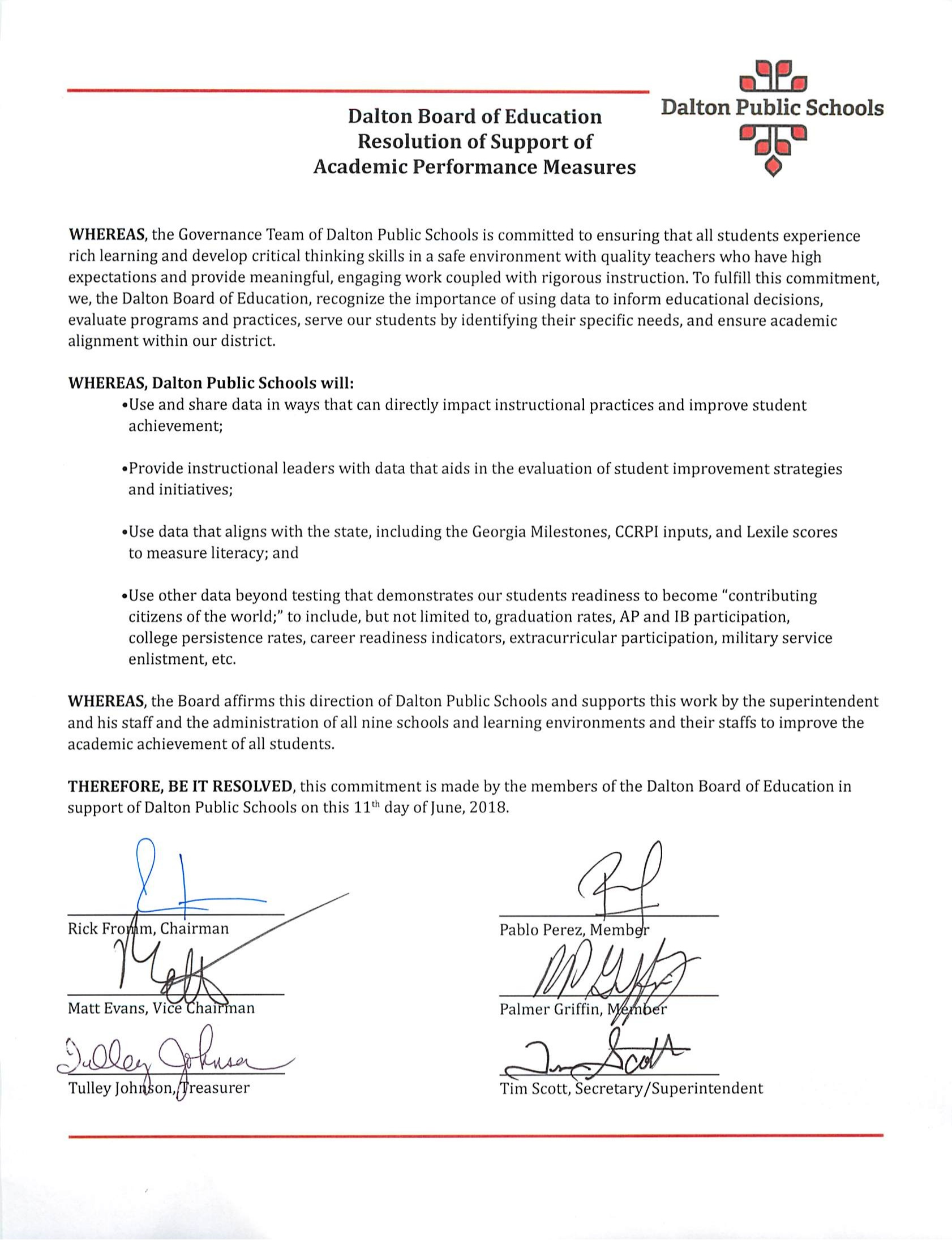 Board of Education Resolution of Support
