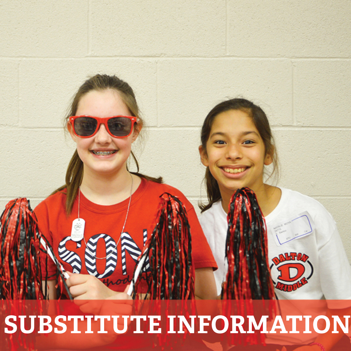 "Two female students with text that reads, ""Substitute Information"""