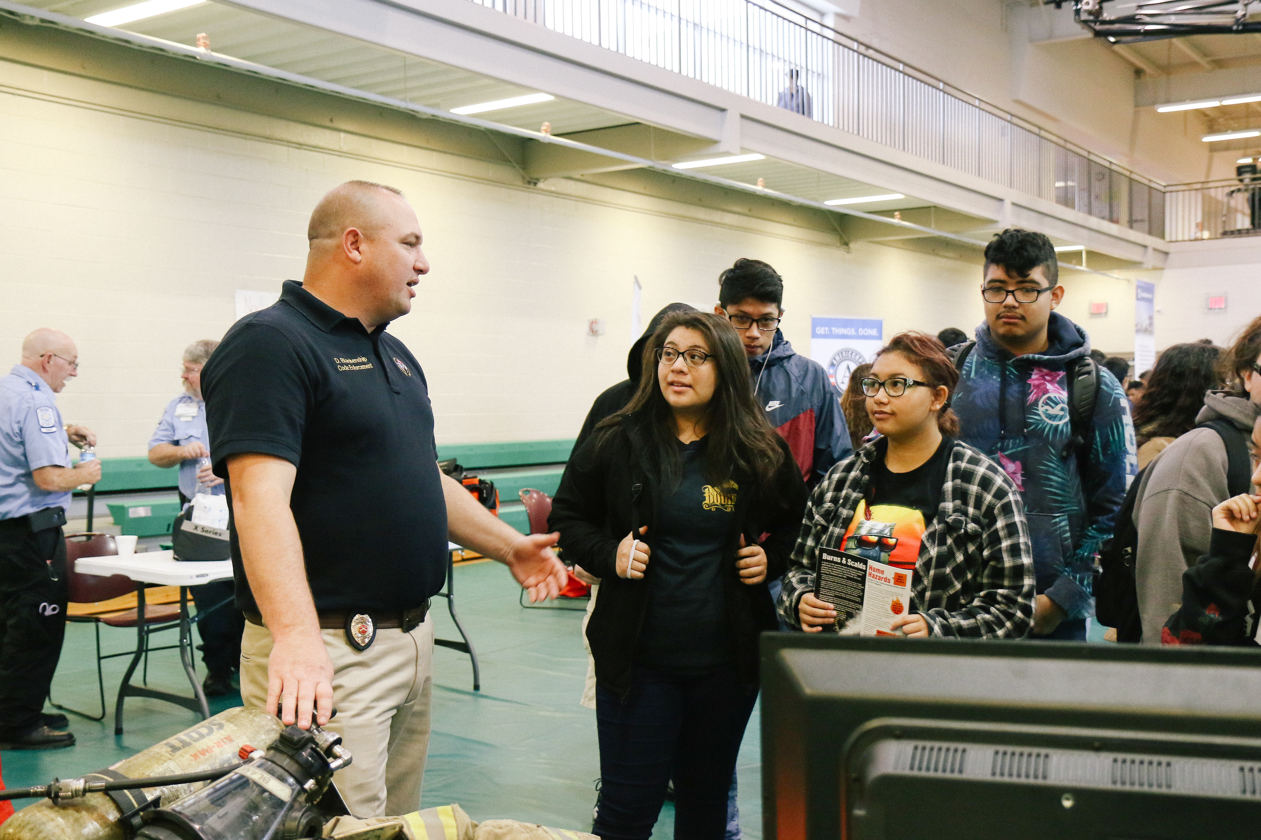 Students Talk with Firefighters